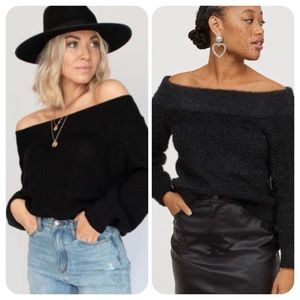 Off The Shoulder Fluffy Black Cropped Sweater